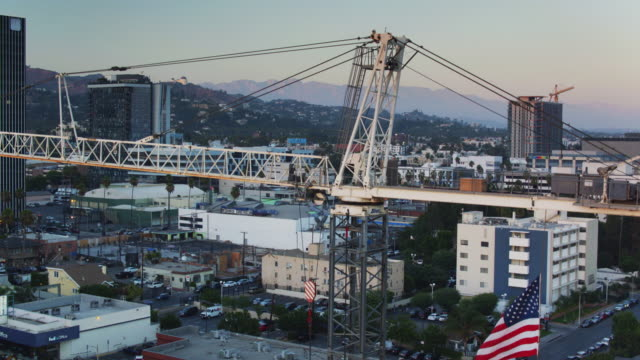 US Flag Flying Over Construction Site in Hollywood, California