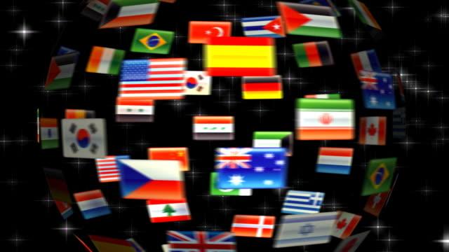 globo di bandiera hd 720 - bandiera nazionale video stock e b–roll