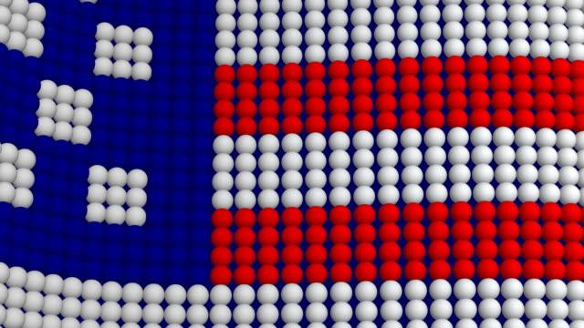 USA Flagge in Hunderten von Kugeln (Endlosschleife)