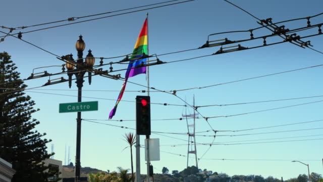 LGBT Flag in the Castro with Sutro Tower in the Distance