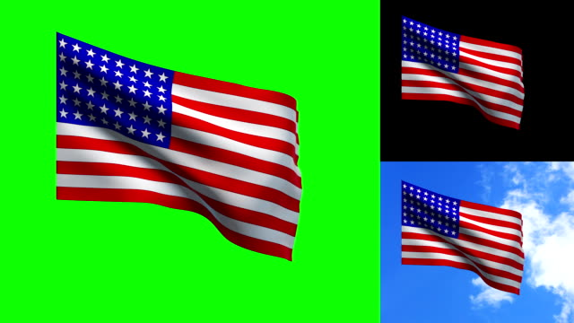 stockvideo's en b-roll-footage met usa vlag - keyable - keyable