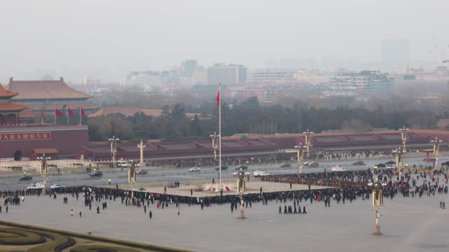 flag lowering at tiananmen square at night,beijing - tiananmen square stock videos & royalty-free footage