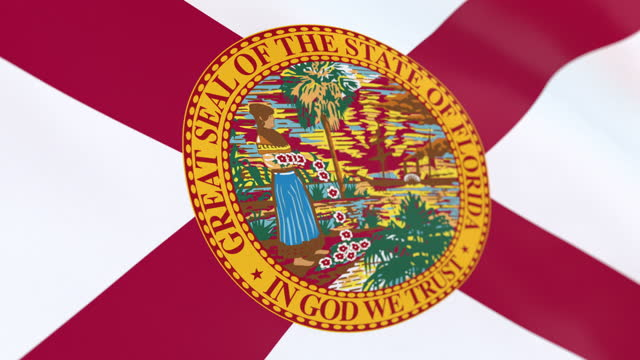 flag of american state of florida, united states - western script stock videos & royalty-free footage