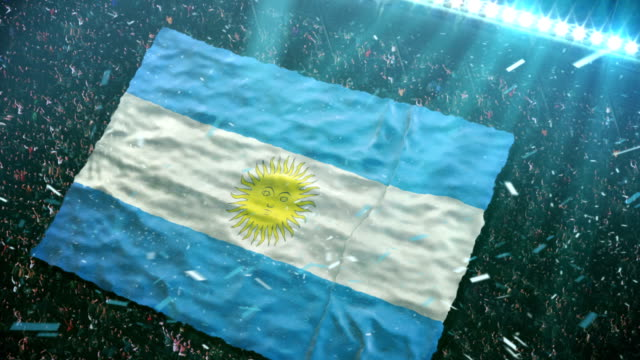 flag of argentina at the stadium - argentina stock videos & royalty-free footage