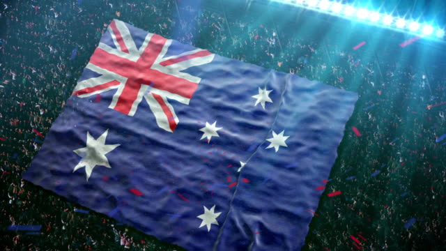 Flag of Australia at the stadium