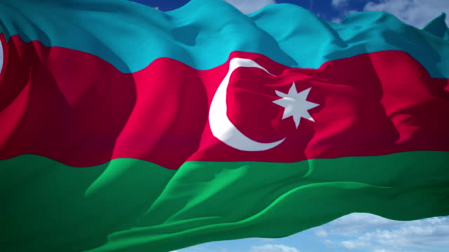 vídeos de stock, filmes e b-roll de bandeira do azerbaijão - azerbaidjão