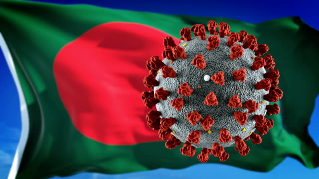 flag of bangladesh with outbreak deadly coronavirus covid-19. loopable - flag of bangladesh stock videos & royalty-free footage
