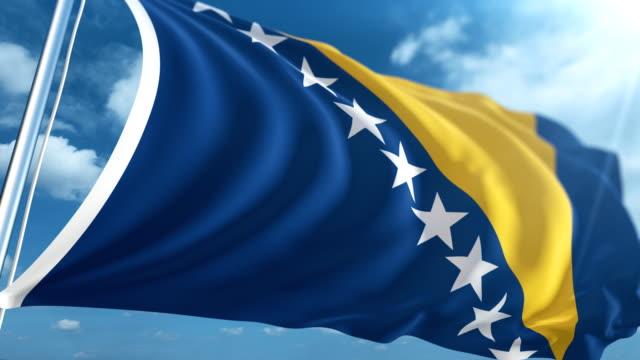 stockvideo's en b-roll-footage met vlag van bosnië en herzegovina   loopbare - paalzitten