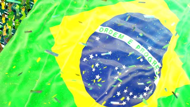 vídeos de stock, filmes e b-roll de bandeira do brasil, no estádio - bandeira