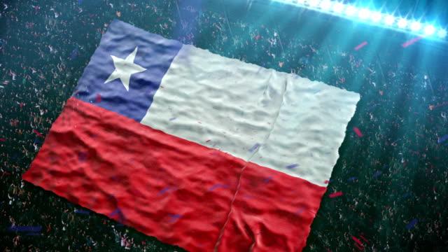 flagge des landes auf das stadion - chile stock-videos und b-roll-filmmaterial