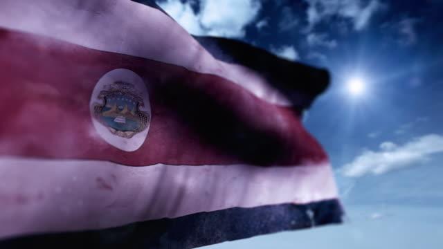 flagge von costa rica - ausgefranst stock-videos und b-roll-filmmaterial