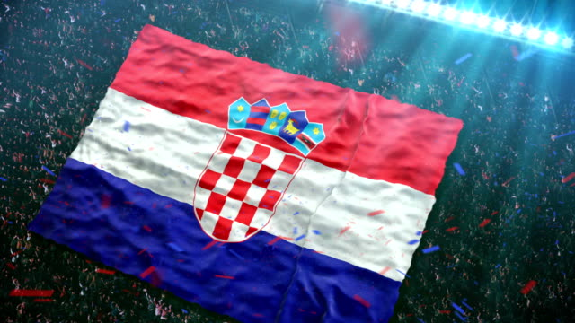 flag of croatia at the stadium - competition round stock videos and b-roll footage