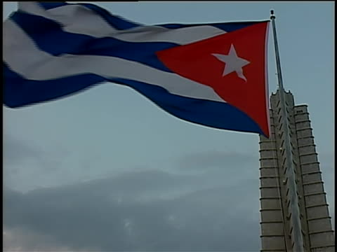 flag of cuba waving in the wind during pope benedict xvi visit to cuba. - latin america stock videos & royalty-free footage