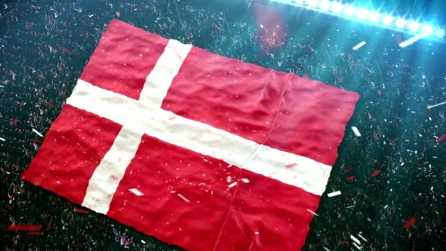 flag of denmark at the stadium - denmark stock videos & royalty-free footage