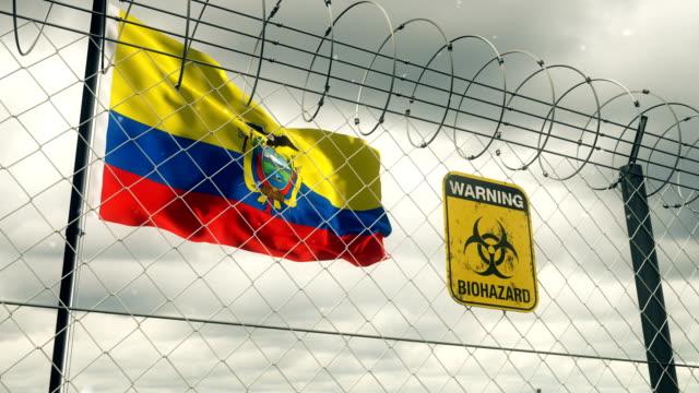 flagge von ecuador mit biohazard zeichen warnung vor quarantäne. loopable. - ecuador stock-videos und b-roll-filmmaterial
