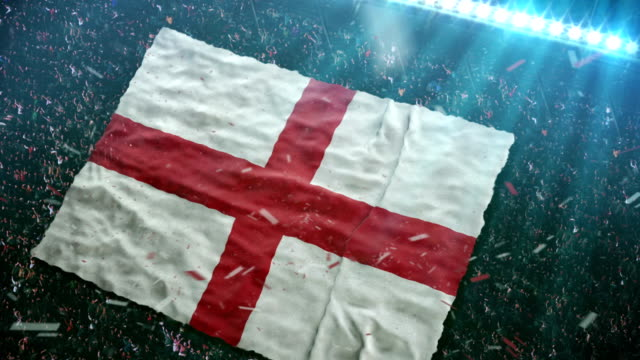 flag of england at the stadium - english culture stock videos & royalty-free footage