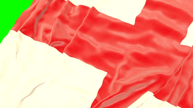 Flag of England on green screen. Close up