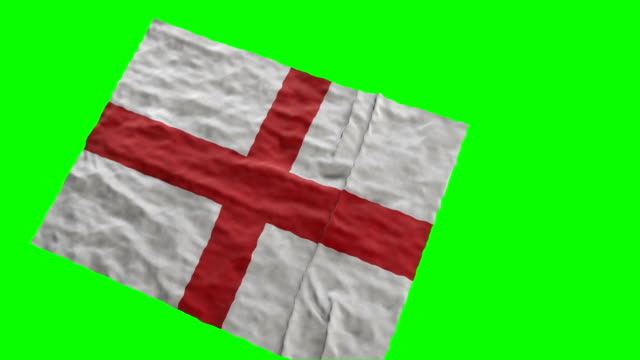 Flag of England stadium flag. Waving on green screen