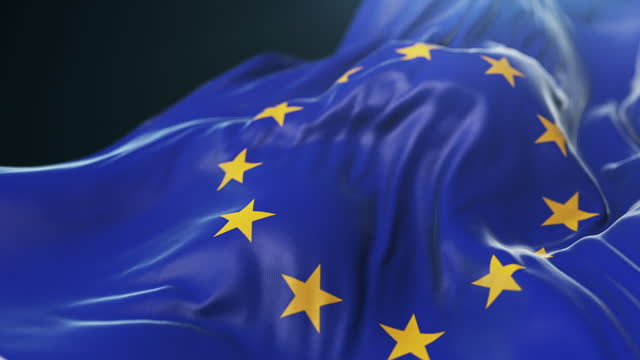 europeiska unionens flagga när upp. långsam rörelse - historia bildbanksvideor och videomaterial från bakom kulisserna