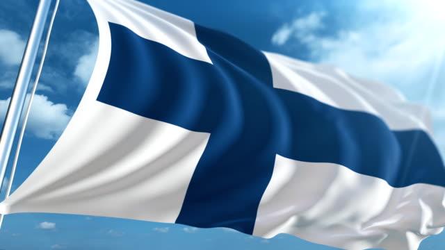 vídeos de stock, filmes e b-roll de bandeira da finlândia | loopable - finlândia