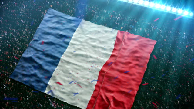 stockvideo's en b-roll-footage met flag of france at the stadium - frankrijk