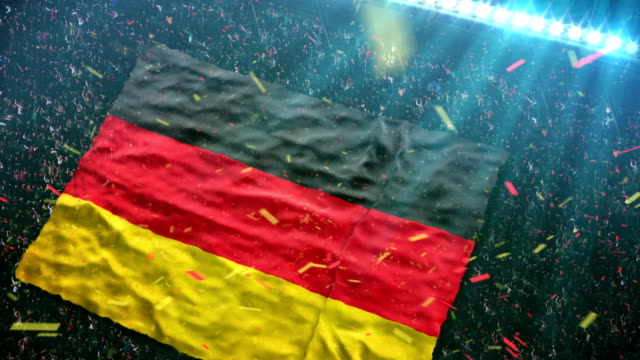 stockvideo's en b-roll-footage met flag of germany at the stadium - duitsland