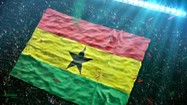 flag of ghana at the stadium - ghana stock videos & royalty-free footage