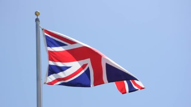 bandiera della gran bretagna - bandiera inglese video stock e b–roll