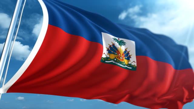 flag of haiti | loopable - flag haiti stock videos & royalty-free footage