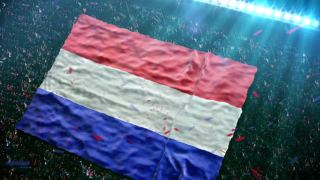 flag of holland at the stadium - netherlands stock videos & royalty-free footage