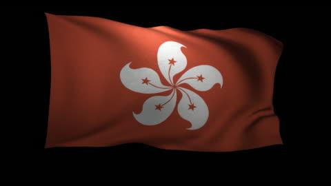 cgi flag of hong kong waving against black background - hong kong flag stock videos & royalty-free footage