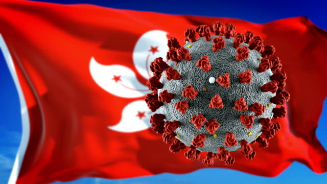 flag of hong kong with outbreak deadly coronavirus covid-19. loopable - hong kong flag stock videos & royalty-free footage