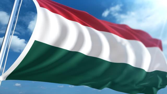 stockvideo's en b-roll-footage met vlag van hongarije   loopbare - paalzitten