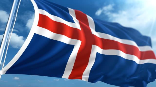 stockvideo's en b-roll-footage met vlag van ijsland   loopbare - paalzitten