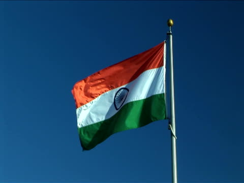 ms, flag of india flapping against clear sky - indian flag stock videos & royalty-free footage