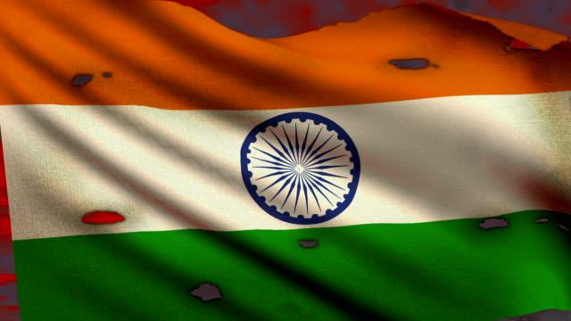 Flag of India waving at battlefield