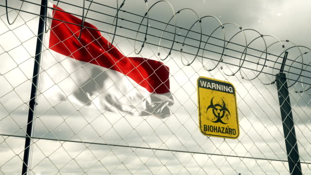 flag of indonesia with biohazard sign warning of quarantine. loopable. - indonesia flag stock videos & royalty-free footage