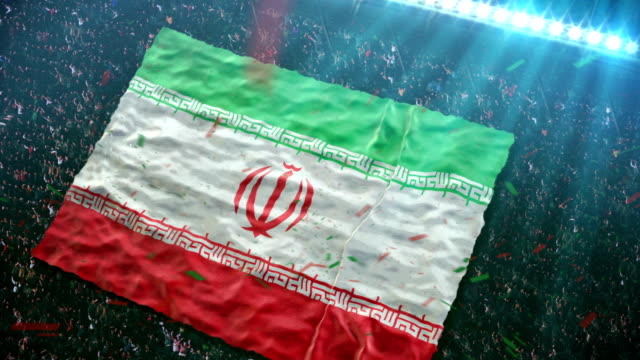 flag of iran at the stadium - iran stock videos and b-roll footage