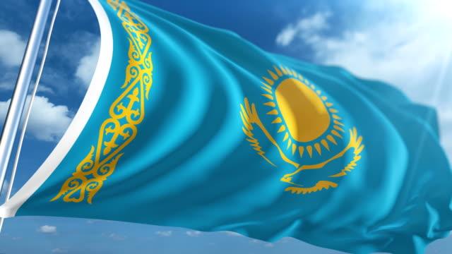 stockvideo's en b-roll-footage met vlag van kazachstan   loopbare - paalzitten
