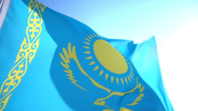 flag of kazakhstan - kazakhstan stock videos and b-roll footage