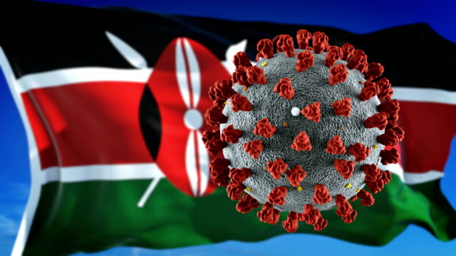 flag of kenya with outbreak deadly coronavirus covid-19. loopable - kenya stock videos & royalty-free footage