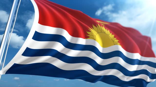 flag of kiribati   loopable - micronesia stock videos & royalty-free footage