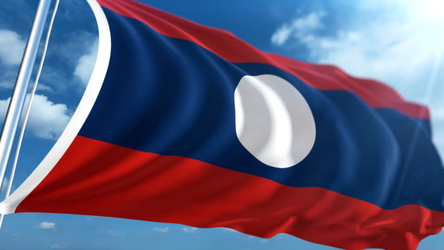 stockvideo's en b-roll-footage met vlag van laos   loopbare - paalzitten