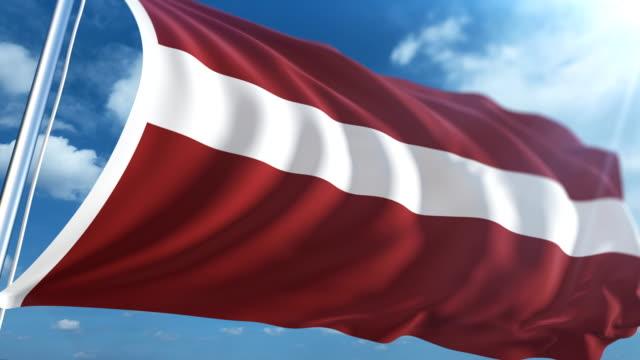 stockvideo's en b-roll-footage met vlag van letland   loopbare - paalzitten