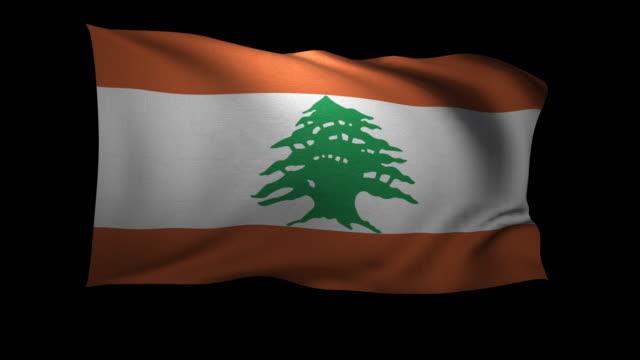 cgi flag of lebanon waving against black background - lebanese flag stock videos and b-roll footage