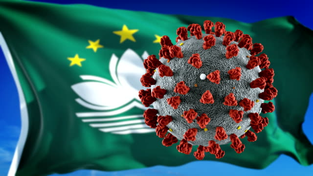 flag of macao with outbreak deadly coronavirus covid-19. loopable - macao flag stock videos & royalty-free footage