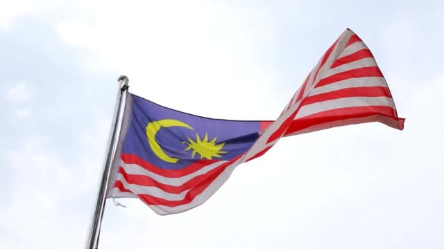 flag of malaysia - cultura malesiana video stock e b–roll