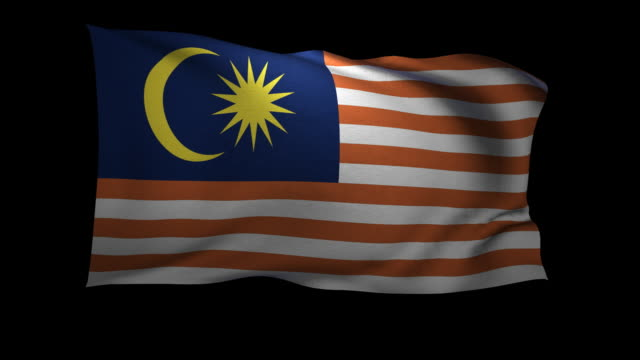 CGI Flag of Malaysia waving against black background