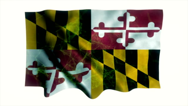 flag of maryland, maryland flag - maryland us state stock videos & royalty-free footage
