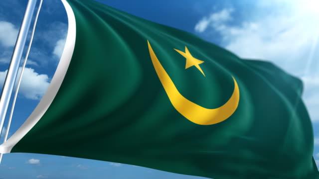 flag of mauritania | loopable - mauritania stock videos & royalty-free footage